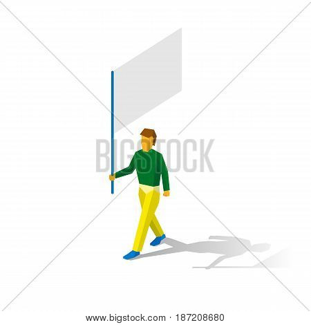 Isometric flag bearer with blank standard. In colors of Brasilia. Sport infographic. Vector image clip art - flagman.
