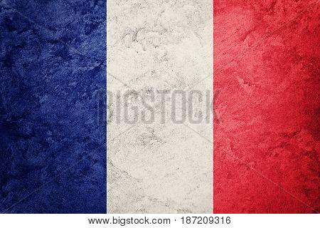 Grunge France Flag. France Flag With Grunge Texture.
