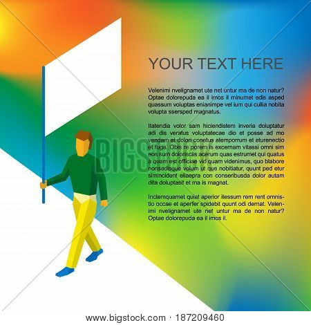 Isometric flag bearer with blank standard on colorful background. Walking man with blank standard