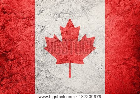 Grunge Canada Flag. Canada Flag With Grunge Texture.