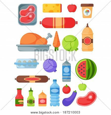 Selection of healthy food diet dinner lunch cooking nutrition cuisine vector illustration. Restaurant eating dish organic natural gourmet delicious fruit ingredient.