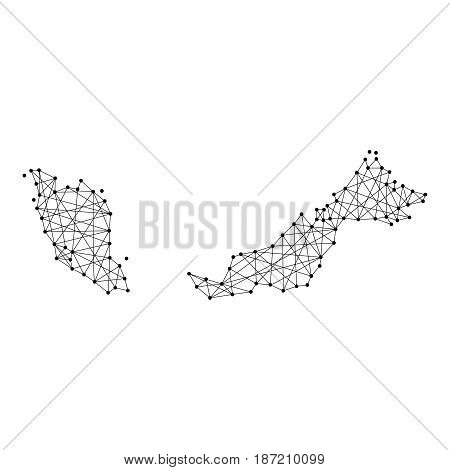 Map of Malaysia from polygonal black lines and dots of vector illustration