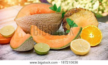 Healthy organic food - fresh, juicy and juicy (tasty) fruit on table