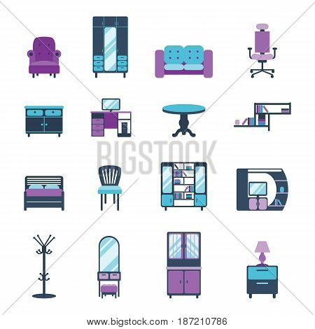 Furniture icons home design modern living room chair house sofa comfortable furnished apartment couch vector illustration. Contemporary luxury flat elegancee retro bedroom interior.