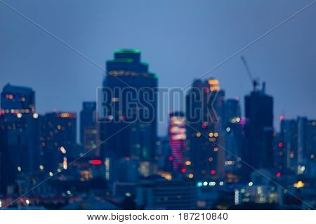 Night citt office building blurred light twilight abstract background