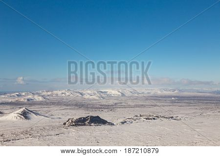 Beautiful Iceland winter season nautral mountain landscape with clear blue sky background