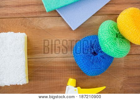 Close up of sponge on wooden table