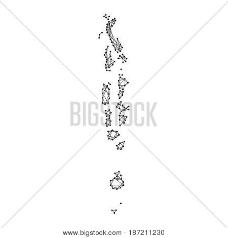 Map of Maldives from polygonal black lines and dots of vector illustration.