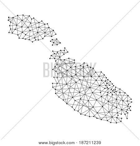 Map of Malta from polygonal black lines and dots of vector illustration