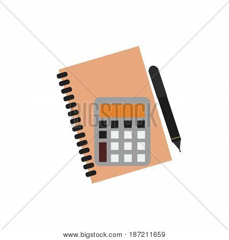 Planner notebook organizer diary paper note page business vector. Information personal notepad. Mathematics business calculator technology vector icon. Electronic calculator financial display