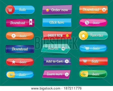 Colorful website buttons design vector illustration glossy graphic label internet template banner. Rounded blank menu reflection business navigation download interface.