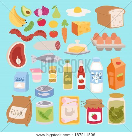 Everyday food icons patchwork. Set of common goods and everyday products we get by shopping in supermarket. Patch food breakfast or dinner eating vector elements.