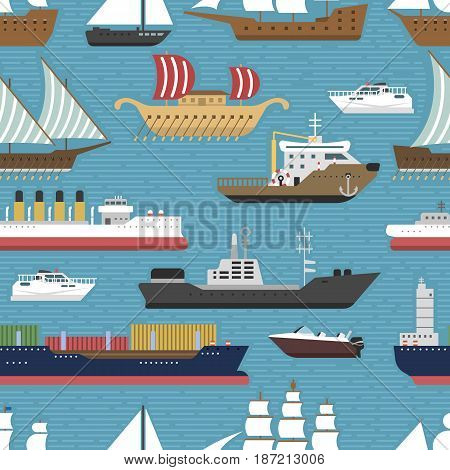 Ship cruiser boat sea symbol vessel travel industry vector sailboats cruise. Set of marine icon commercial design element. Export business trade water cargo transportation seamless pattern