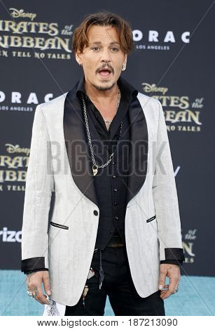 Johnny Depp at the U.S. premiere of 'Pirates Of The Caribbean: Dead Men Tell No Tales' held at the Dolby Theatre in Hollywood, USA on May 18, 2017.