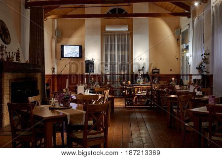 VASILYEVSKOYE, MOSCOW REGION, RUSSIA - FEB 3, 2017: Interior of restaurant Miraval at Provence-Hotel Four Seasons in evening. The restaurant has 60 seats.