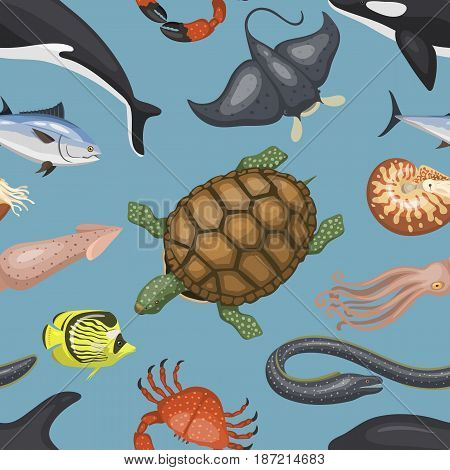 Sea animals illustration tropical character wildlife marine aquatic tropic fishes sealess pattern vector background.