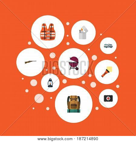 Flat Caravan, Bag, Fist Aid And Other Vector Elements. Set Of Camping Flat Symbols Also Includes Cigarette, Lamp, Barbecue Objects.