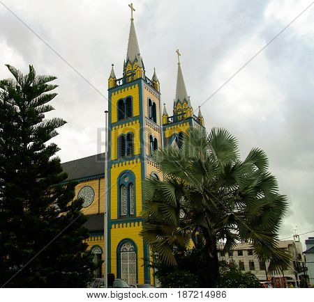 Exterior view to Saint Peter and Paul Cathedral in Paramaribo Suriname