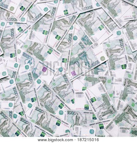 Background of many thousands of ruble notes. Wealth finance