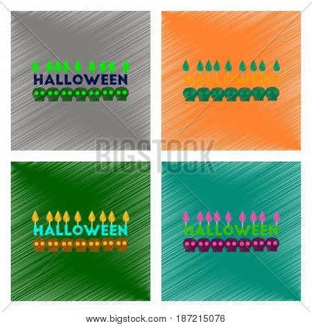 assembly flat shading style icon of candle halloween