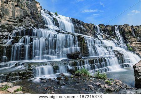 Pongour Waterfall. Amazing Pongour Waterfall is famous and most beautiful of fall in Vietnam. Not far from Dalat city estimate 45 Km. Dalat Vietnam