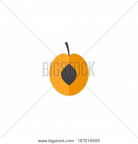 Flat Apricot Element. Vector Illustration Of Flat Nectarine Isolated On Clean Background. Can Be Used As Apricot, Fruit And Nectarine Symbols.