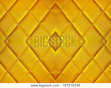 Close up diamond cushion pattern of yellow vintage sofa texture and background