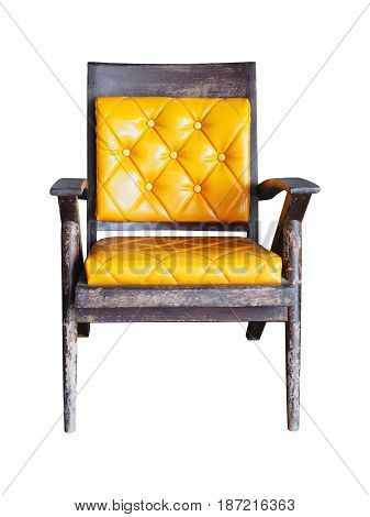 vintage old wooden chairs with yellow cushion isolated on white background