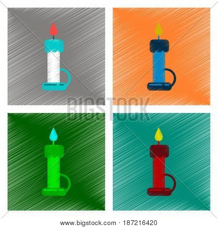 assembly flat shading style icon of wax candle