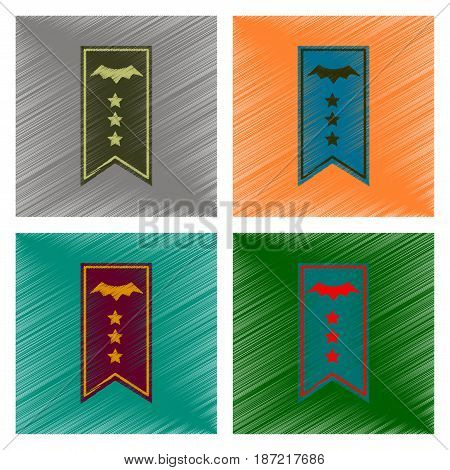assembly flat shading style icon of halloween garland
