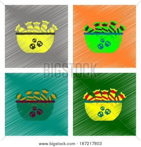 assembly flat shading style icon of halloween candy