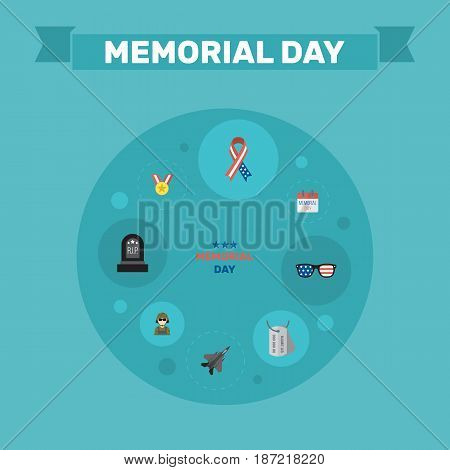 Flat Spectacles, Holiday, Tomb And Other Vector Elements. Set Of History Flat Symbols Also Includes Medallion, Aircraft, Tag Objects.