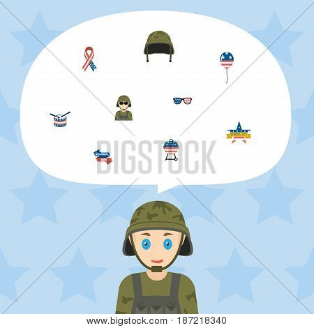 Flat Memorial Day, Soldier Helmet, Decoration And Other Vector Elements. Set Of History Flat Symbols Also Includes Helmet, Instrument, Barbecue Objects.