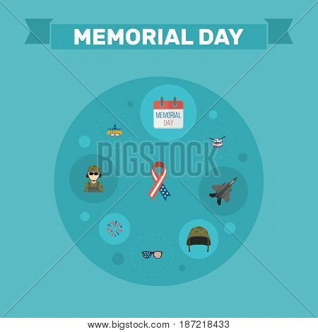 Flat Spectacles, Awareness, Memorial Day And Other Vector Elements. Set Of Memorial Flat Symbols Also Includes Memorial, Aircraft, Calendar Objects.