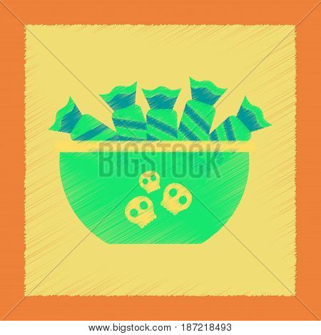 flat shading style icon of halloween candy
