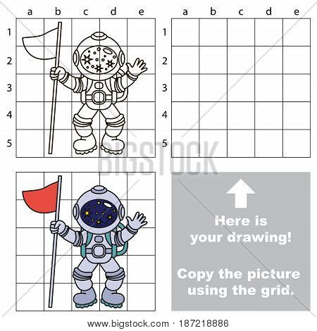 Copy the picture using grid lines, the simple educational game for preschool children education with easy gaming level, the kid drawing game with Spaceman