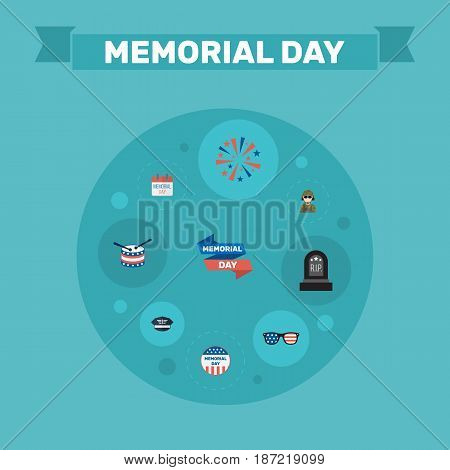Flat Hat, Firecracker, Military Man And Other Vector Elements. Set Of Memorial Flat Symbols Also Includes Firecracker, Grave, Day Objects.