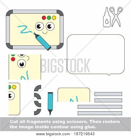 Use scissors and glue and restore the picture inside the contour. Easy educational paper game for kids. Simple kid application with Cute Whiteboards