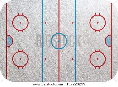 Hockey court Playground isolated ice background. Hockey pitch backdrop