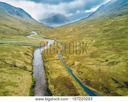 The river Etive flowing through Glen Etive.