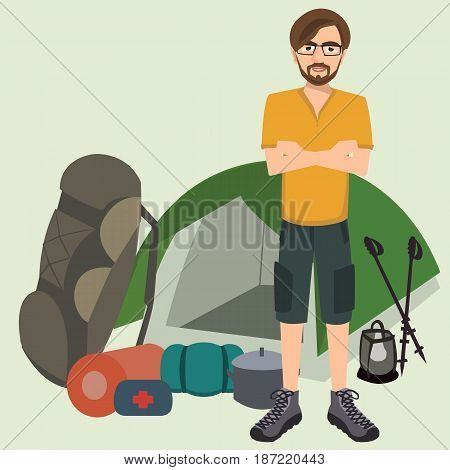 man standing with camping equipment - vector cartoon illustration