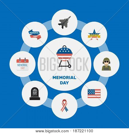 Flat Barbecue, History, Ribbon And Other Vector Elements. Set Of History Flat Symbols Also Includes Military, Banner, Calendar Objects.