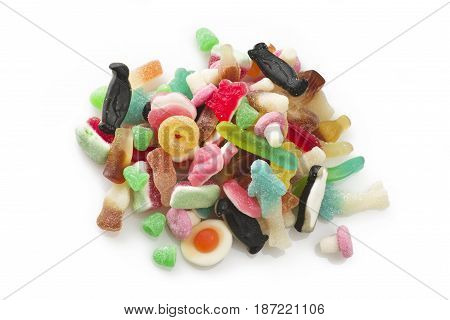 group of colorful candy on the white