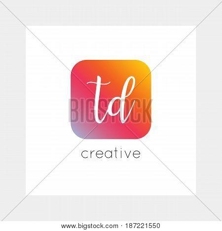 TD logo, vector. Useful as branding, app icon, alphabet combination, clip-art.