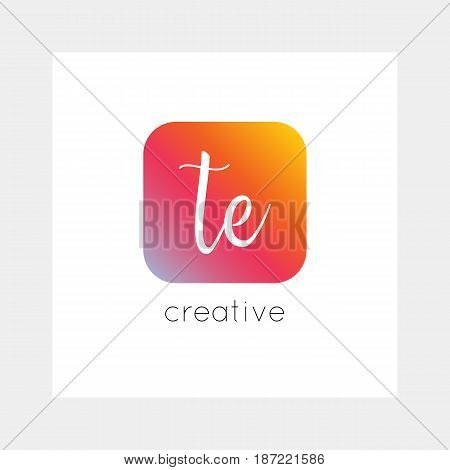 TE logo, vector. Useful as branding, app icon, alphabet combination, clip-art.
