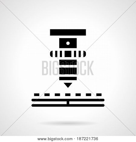 Abstract monochrome symbol of high precision laser welder. Modern technology for metal cutting, welding, processing. Symbolic black glyph style vector icon.