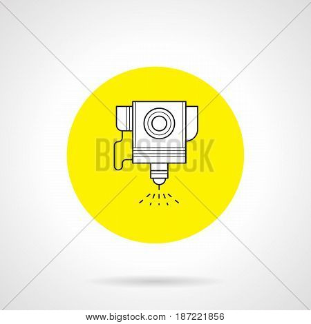 Outline symbol of robotic laser cutter. Industrial technology for metalworking and automotive. Round flat design yellow vector icon.