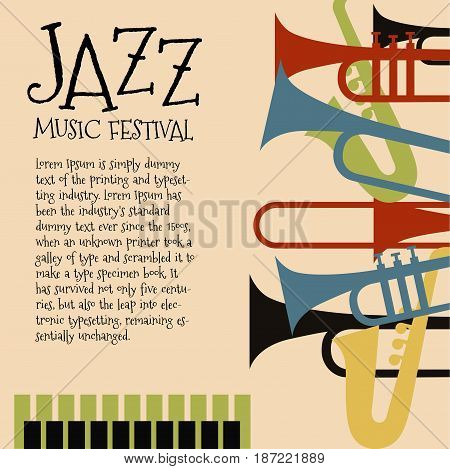 Vector template for jazz concert poster or a flyer featuring orchestral instruments