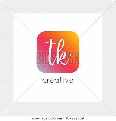 TK logo, vector. Useful as branding, app icon, alphabet combination, clip-art.