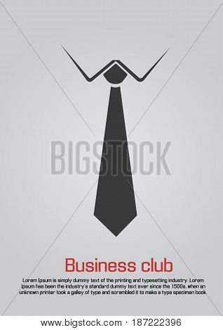 Flat illustration of necktie with white collar. Black on white